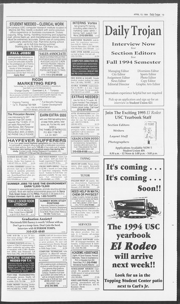 Daily Trojan, Vol. 122, No. 57, April 13, 1994
