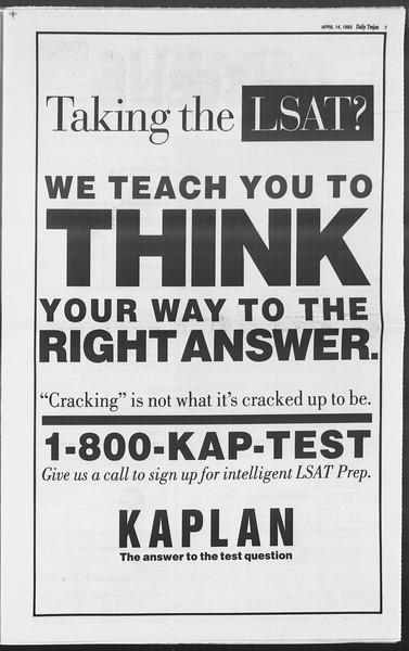 Daily Trojan, Vol. 119, No. 57, April 14, 1993