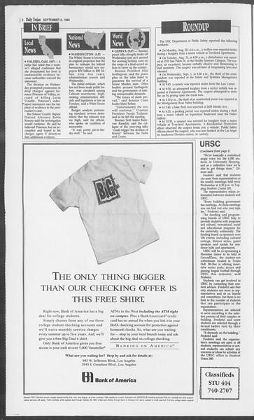 Daily Trojan, Vol. 121, No. 5, September 03, 1993
