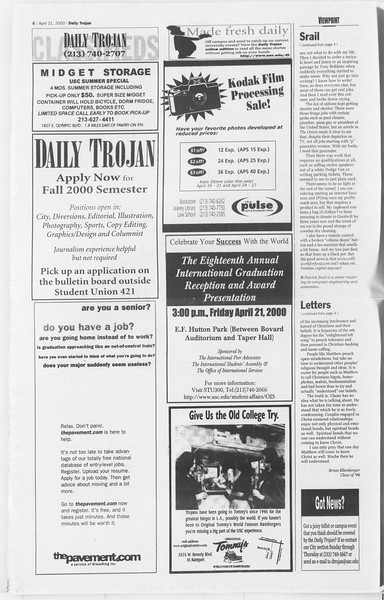 Daily Trojan, Vol. 139, No. 63, April 21, 2000