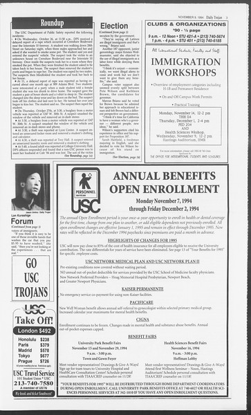 Daily Trojan, Vol. 123, No. 49, November 09, 1994