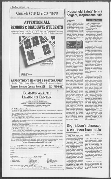Daily Trojan, Vol. 121, No. 24, October 04, 1993