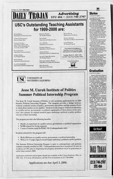 Daily Trojan, Vol. 139, No. 40, March 21, 2000