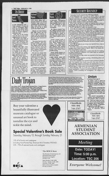 Daily Trojan, Vol. 119, No. 18, February 08, 1993