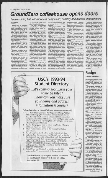 Daily Trojan, Vol. 121, No. 1, August 23, 1993