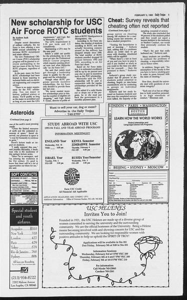 Daily Trojan, Vol. 119, No. 15, February 03, 1993
