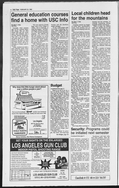 Daily Trojan, Vol. 119, No. 28, February 24, 1993