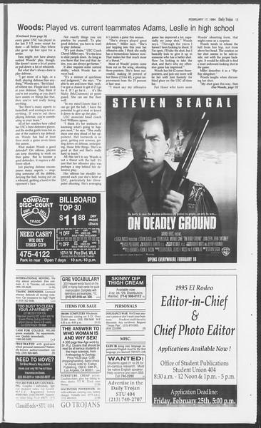 Daily Trojan, Vol. 122, No. 26, February 17, 1994