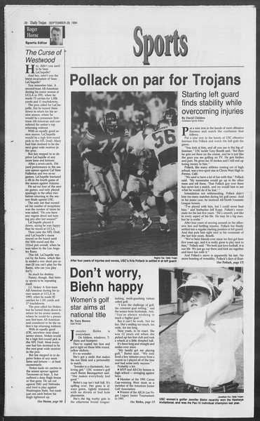Daily Trojan, Vol. 123, No. 20, September 29, 1994
