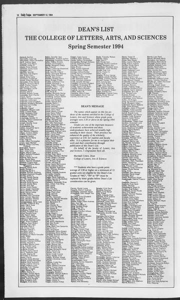 Daily Trojan, Vol. 123, No. 7, September 12, 1994