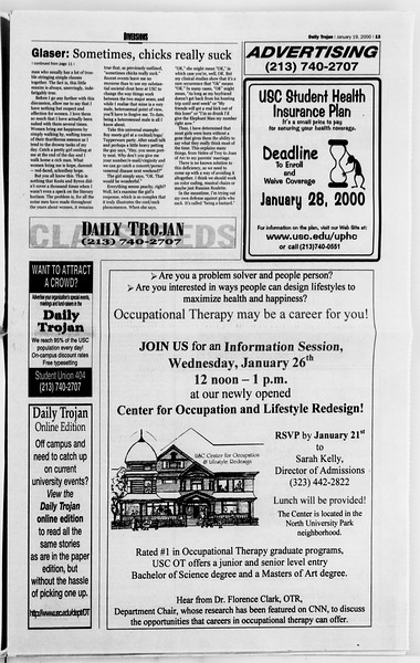 Daily Trojan, Vol. 139, No. 5, January 19, 2000