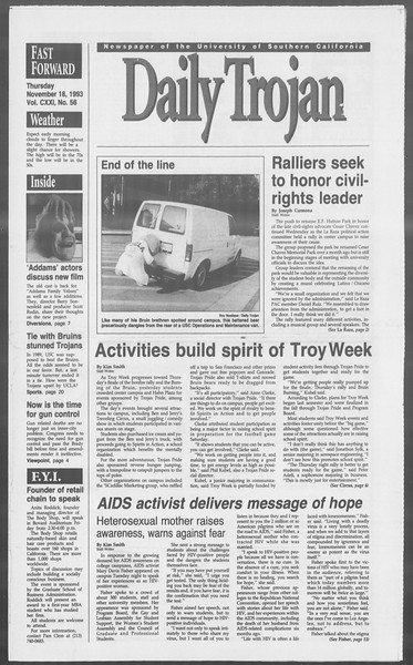 Daily Trojan, Vol. 121, No. 56, November 18, 1993