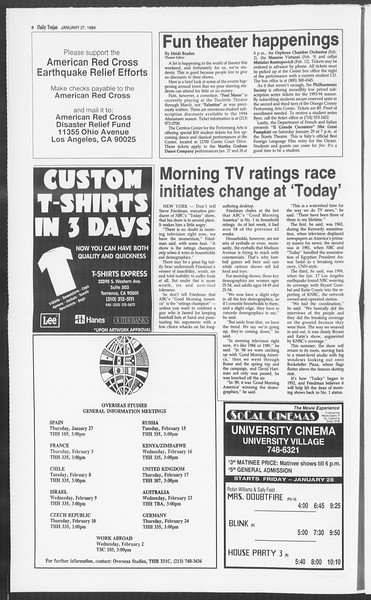 Daily Trojan, Vol. 122, No. 11, January 27, 1994