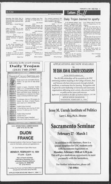Daily Trojan, Vol. 122, No. 21, February 10, 1994