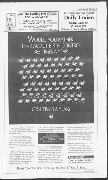 Daily Trojan, Vol. 122, No. 49, March 24, 1994