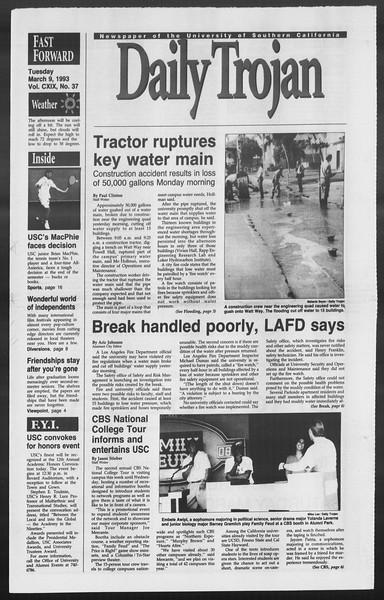 Daily Trojan, Vol. 119, No. 37, March 09, 1993