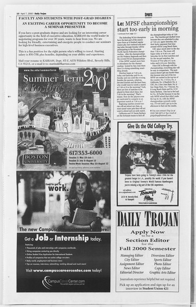 Daily Trojan, Vol. 139, No. 53, April 07, 2000
