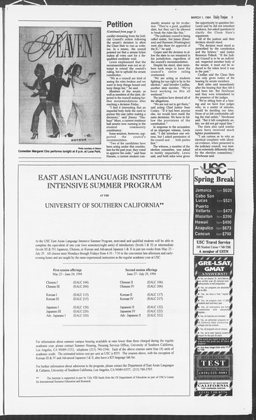 Daily Trojan, Vol. 122, No. 32, March 01, 1994