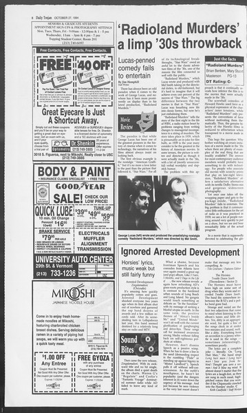Daily Trojan, Vol. 123, No. 39, October 27, 1994