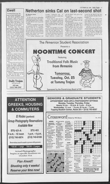 Daily Trojan, Vol. 123, No. 36, October 24, 1994