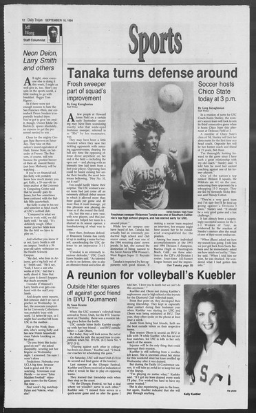Daily Trojan, Vol. 123, No. 11, September 16, 1994