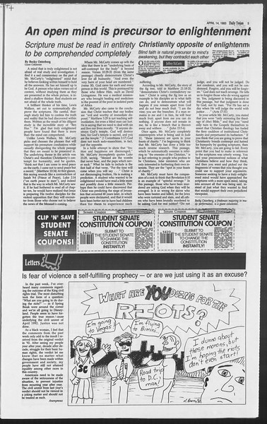 Daily Trojan, Vol. 119, No. 57, April 14, 1993