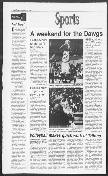 Daily Trojan, Vol. 122, No. 23, February 14, 1994