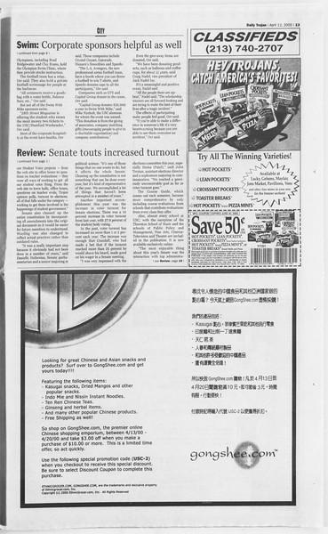 Daily Trojan, Vol. 139, No. 56, April 12, 2000