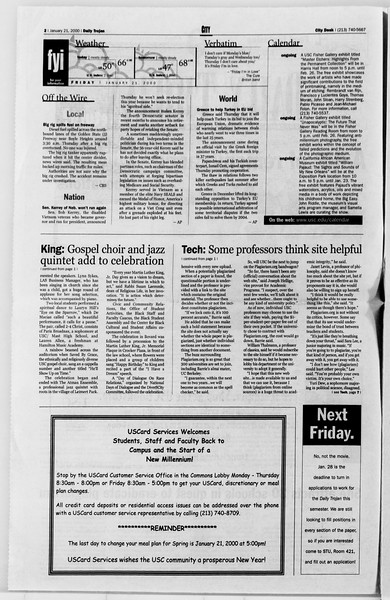 Daily Trojan, Vol. 139, No. 7, January 21, 2000