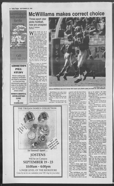 Daily Trojan, Vol. 123, No. 16, September 23, 1994