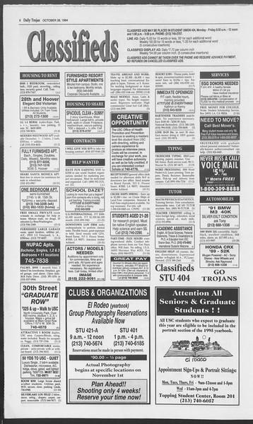 Daily Trojan, Vol. 123, No. 40, October 28, 1994