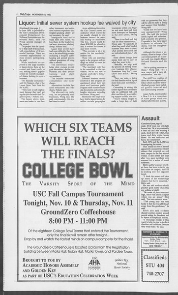 Daily Trojan, Vol. 121, No. 50, November 10, 1993