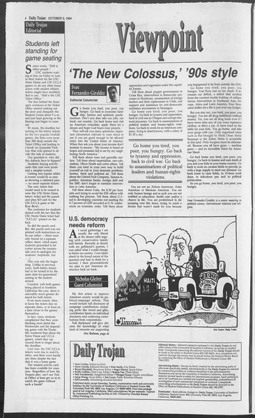 Daily Trojan, Vol. 123, No. 22, October 03, 1994