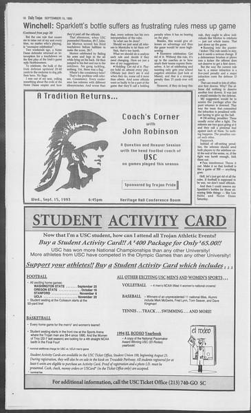 Daily Trojan, Vol. 121, No. 11, September 15, 1993
