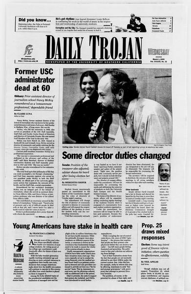 Daily Trojan, Vol. 139, No. 33, March 01, 2000
