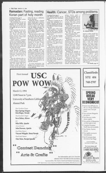 Daily Trojan, Vol. 122, No. 39, March 10, 1994