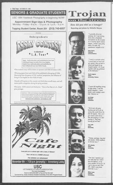 Daily Trojan, Vol. 121, No. 41, October 27, 1993