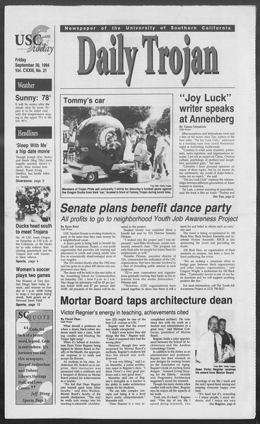 Daily Trojan, Vol. 123, No. 21, September 30, 1994