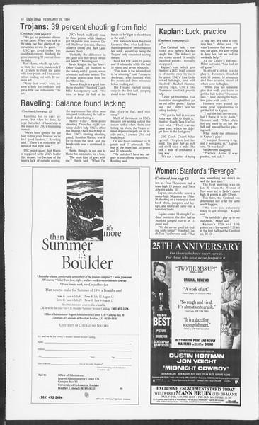 Daily Trojan, Vol. 122, No. 30, February 25, 1994