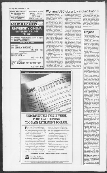 Daily Trojan, Vol. 122, No. 28, February 23, 1994