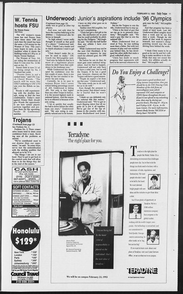 Daily Trojan, Vol. 119, No. 19, February 09, 1993