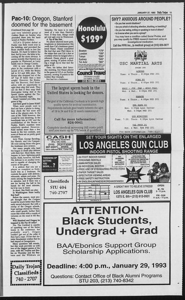 Daily Trojan, Vol. 119, No. 10, January 27, 1993