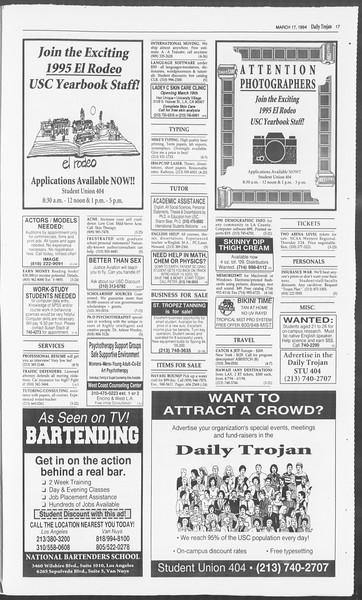 Daily Trojan, Vol. 122, No. 44, March 17, 1994