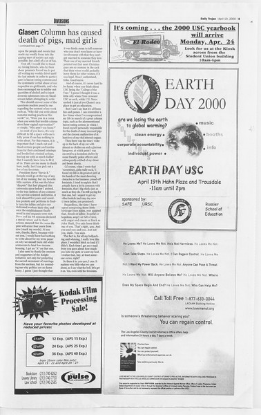 Daily Trojan, Vol. 139, No. 61, April 19, 2000