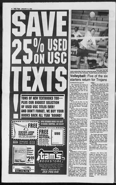 Daily Trojan, Vol. 119, No. 3, January 14, 1993