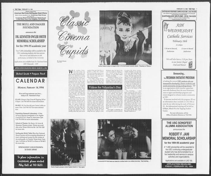 Daily Trojan, Vol. 122, No. 23, February 14, 1994