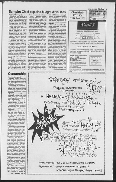 Daily Trojan, Vol. 119, No. 61, April 20, 1993