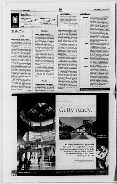 Daily Trojan, Vol. 139, No. 12, January 28, 2000