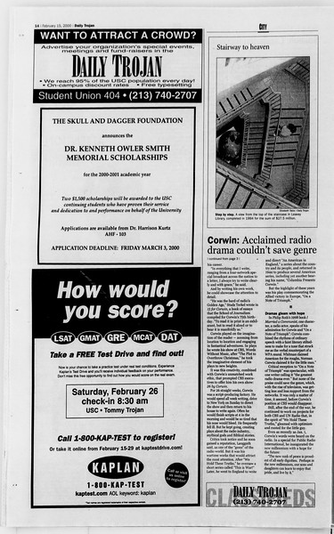 Daily Trojan, Vol. 139, No. 24, February 15, 2000