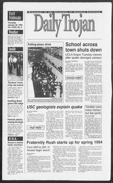 Daily Trojan, Vol. 122, No. 6, January 20, 1994